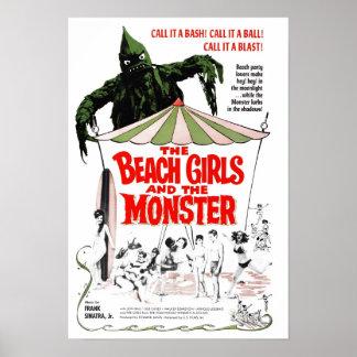 Los chicas de la playa y el poster del monstruo