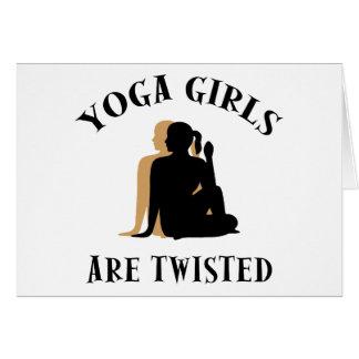 Los chicas de la yoga son regalo torcido tarjetas