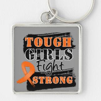 Los chicas de LeukemiaTough luchan fuerte Llavero Cuadrado Plateado