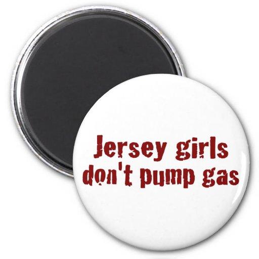 Los chicas del jersey no bombean el gas (nuevo) imán redondo 5 cm