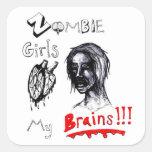 Los chicas del zombi aman mis cerebros pegatina cuadradas