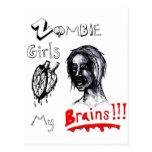 Los chicas del zombi aman mis cerebros tarjetas postales