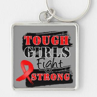 Los chicas duros del cáncer de sangre luchan fuert llavero cuadrado plateado