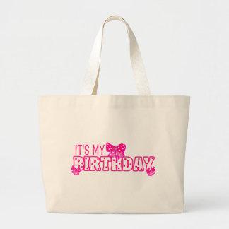 Los chicas es mi arco del rosa del cumpleaños bolsa tela grande