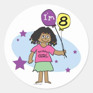 Los chicas étnicos soy el 8vo cumpleaños 8 pegatinas redondas