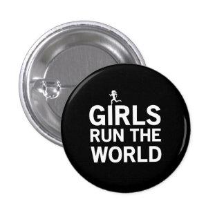 Los chicas funcionan con el mundo pin redondo de 1 pulgada