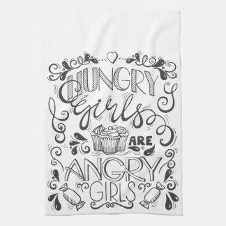 Los chicas hambrientos son toallas de cocina