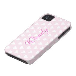 Los chicas iniciales personalizados de W nombran Case-Mate iPhone 4 Cárcasa