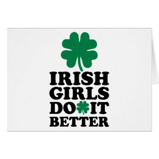 Los chicas irlandeses mejora el trébol tarjeta de felicitación