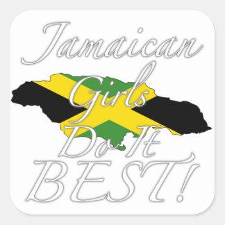 ¡Los chicas jamaicanos lo hacen mejor! Pegatina Cuadrada