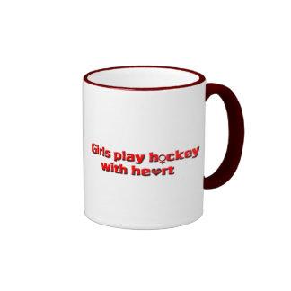 Los chicas juegan a hockey con el corazón/el hocke tazas de café