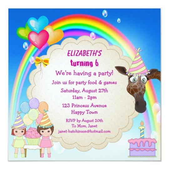 """Los chicas, la jirafa, el arco iris y la torta de invitación 5.25"""" x 5.25"""""""