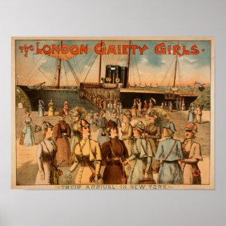 """Los chicas """"llegada de la alegría de Londres a Nue Póster"""