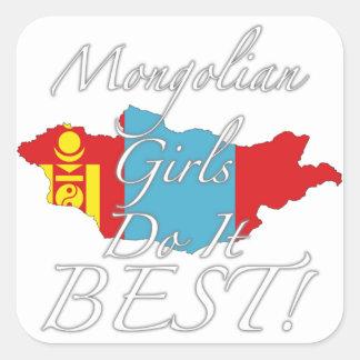 ¡Los chicas mongoles lo hacen mejor! Pegatina Cuadrada