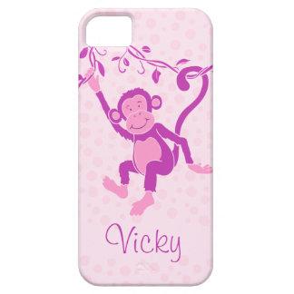 Los chicas monkey la caja conocida púrpura y iPhone 5 funda
