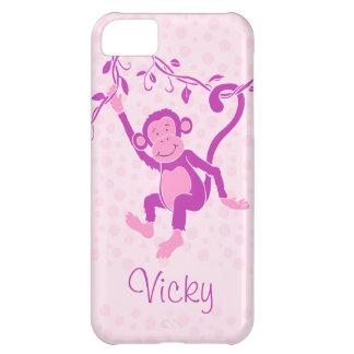 Los chicas monkey la caja conocida púrpura y rosad funda para iPhone 5C