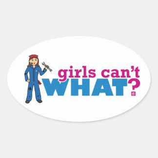 ¿Los chicas no pueden QUÉ? Colorize que crea para Pegatina Ovalada
