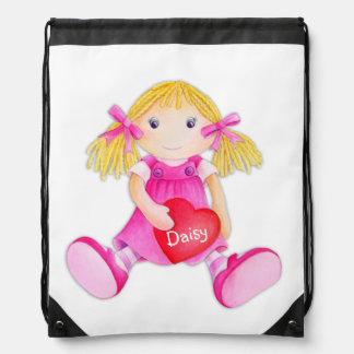 Los chicas nombran el bolso de lazo de la acuarela mochilas