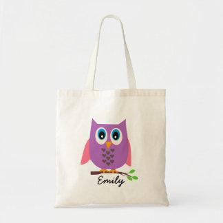 Los chicas personalizaron la bolsa de asas púrpura