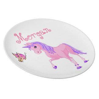 Los chicas platean, mariposa, unicornio plato de comida