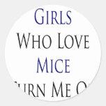 Los chicas que aman ratones me giran pegatina redonda