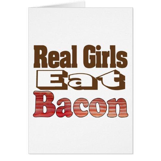 Los chicas reales comen el tocino tarjeta de felicitación