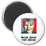 Los chicas reales comen la carne imanes