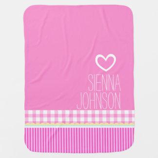 Los chicas rosados lindos nombraron la manta blanc mantitas para bebé