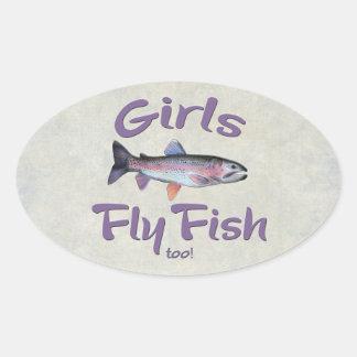 ¡Los chicas vuelan pescados también! Pesca con Pegatina Ovalada