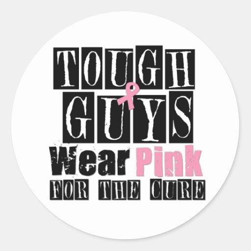 Los chicos duros llevan el rosa para la curación etiquetas redondas