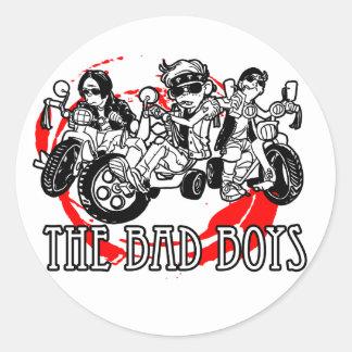 Los chicos malos del triciclo pegatina redonda