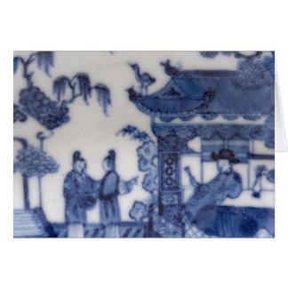 Los chinos exportan escena azul y blanca a partir tarjeta de felicitación