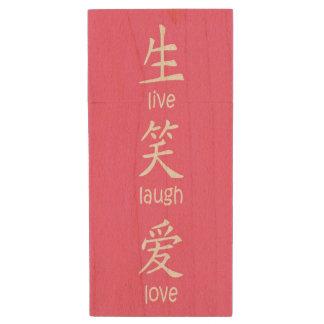 Los chinos viven amor de la risa pen drive de madera USB 3.0
