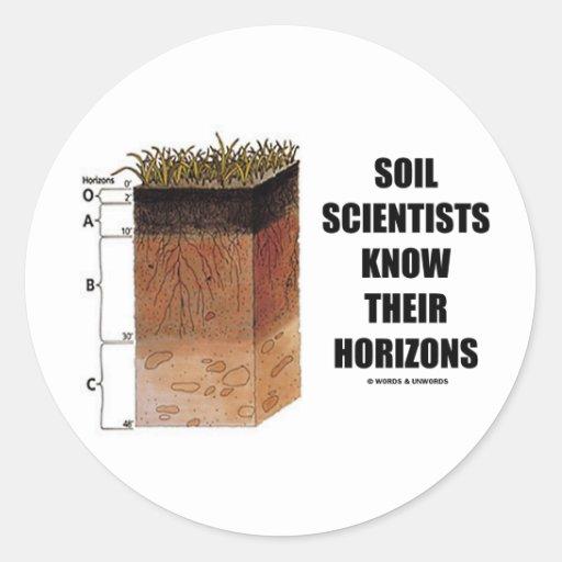 Los científicos del suelo saben sus horizontes etiqueta redonda