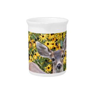 Los ciervos adulan en jardín de flores jarra para bebida