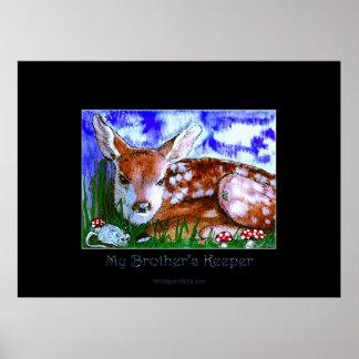 Los ciervos adulan y la impresión del arte del rat posters