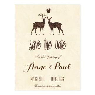 Los ciervos de la acuarela ahorran la fecha postal