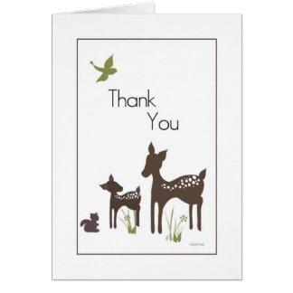 Los ciervos de la mamá y del bebé le agradecen car tarjetón