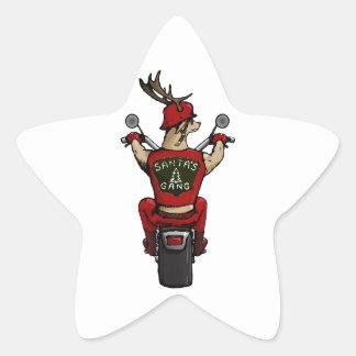 Los ciervos de Santa que montan una bici Pegatina En Forma De Estrella