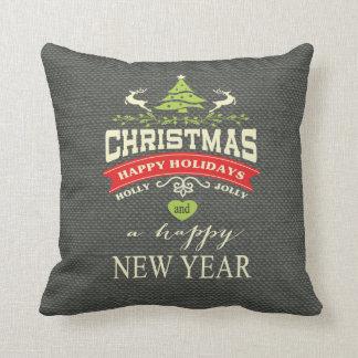 Los ciervos del vintage del navidad redactan gris cojín decorativo