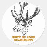 Los ciervos me muestran sus linternas pegatina redonda