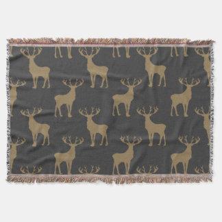 Los ciervos modelan en Brown en gris oscuro Manta