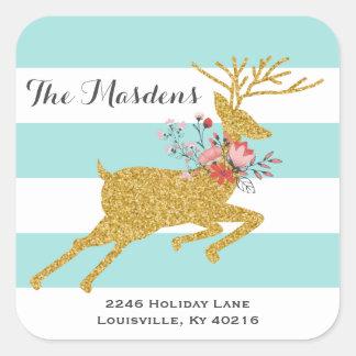 Los ciervos y las rayas del oro personalizaron pegatina cuadrada