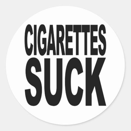 Los cigarrillos chupan pegatina redonda