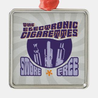 Los cigarrillos electrónicos - sin humos adorno navideño cuadrado de metal