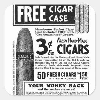 Los cigarros retros 3¢ del anuncio del cigarro del pegatina cuadrada