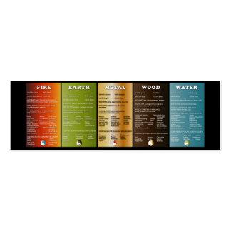 Los cinco elementos tarjetas de visita mini