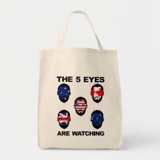 """Los """"cinco ojos """" bolsa tela para la compra"""