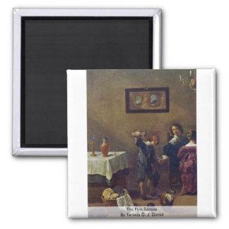Los cinco sentidos por Teniers D.J. David Iman Para Frigorífico