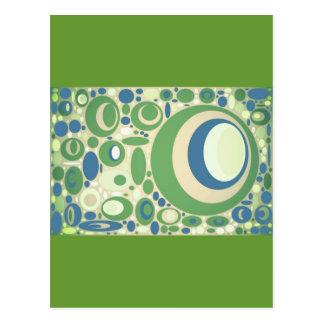 Los círculos del verde y del azul de guisante dise postales